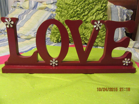 LOVE Sign Deep Burgundy With White Bling Flowers Shelf Sitter - JAMsCraftCloset