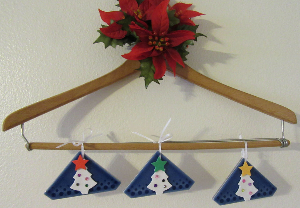 Ornaments Christmas Tree Set of 3  Triangle Ceramic Tiles With White Foam Decorated Christmas Trees - JAMsCraftCloset