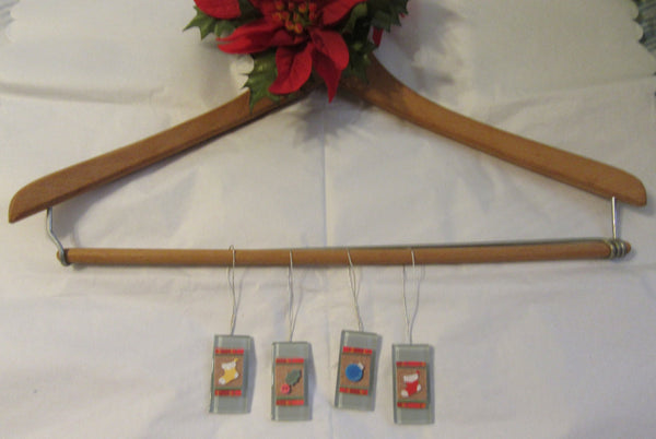 Ornaments Christmas Ceramic Tile Set of 4  Holly 2 Stockings and Bulb - JAMsCraftCloset