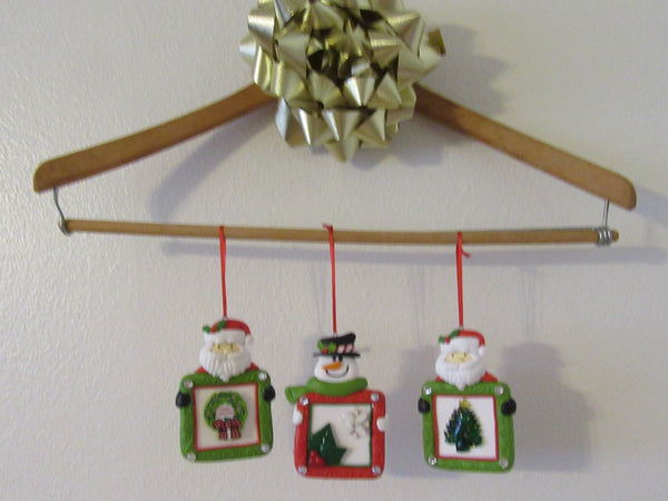Christmas Ornaments Santa Snowman Clay With Christmas Accents and Bling - JAMsCraftCloset