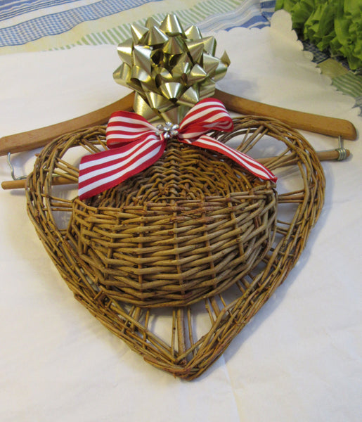 Basket Heart Tree Branch Woven with Red and White Stripped Bow - JAMsCraftCloset