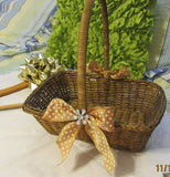 Basket Flower Girl Wedding Table Decor Woven Rectangle Gold Bows White Stars Crystal Flower - JAMsCraftCloset