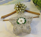 Basket Star Silver Wire White Flower Bling Accent Shelf Sitter - JAMsCraftCloset
