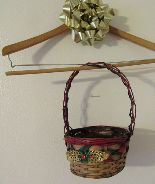 Basket Christmas Small Red Trim Gold Leaves and Bling Holiday Decor Table Decor - JAMsCraftCloset