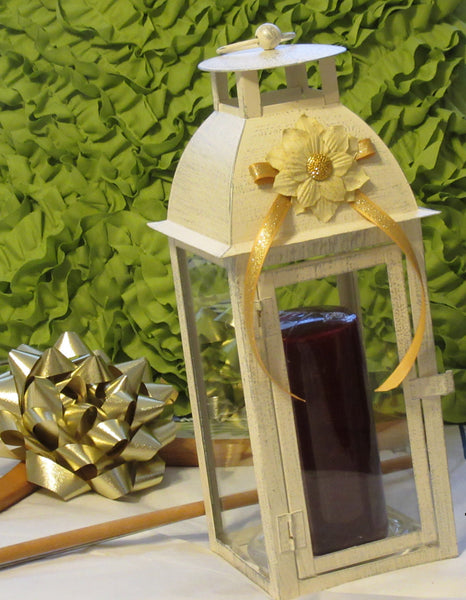 Lantern Metal Candle White Flower Gold Glitter, Gold Bow, and Bling - JAMsCraftCloset