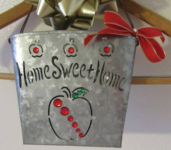 Basket Home Sweet Home Tin Apple Hanging Red Bow Bling - JAMsCraftCloset