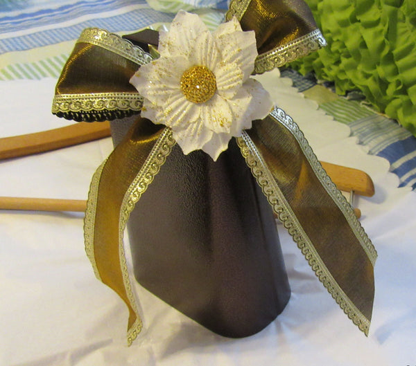 Cow Bell Wedding Sports Party Bronze Gold Bow White Flower Accents - JAMsCraftCloset