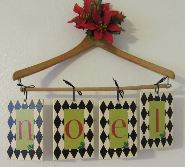 Ornaments Wooden Christmas Vintage Holiday NOEL  4 By 6 Inches SET of 4 Wall Art - JAMsCraftCloset