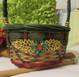 Basket Flower Girl Vintage Woven Green Red Basket with Gold Trim Wedding Accessory Table Decor - JAMsCraftCloset