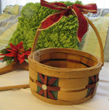 Basket Vintage Woven Red Green Inserts Added Blink Red Bow With Gold Trim - JAMsCraftCloset