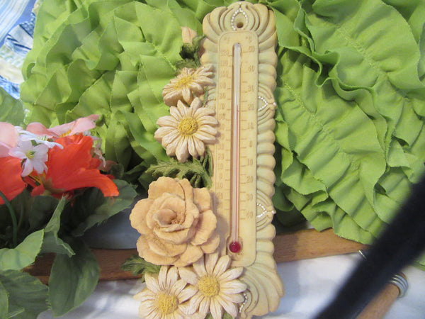 Resin Thermometer Unique Vintage With Beautiful Daisy Flower Accents for Use Indoors or Outdoors on your Porch Great Gift Idea Accurate - JAMsCraftCloset
