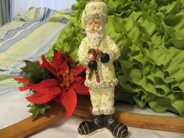 Santa Figurine Vintage Resin White Candle Holder Shelf Sitters - JAMsCraftCloset