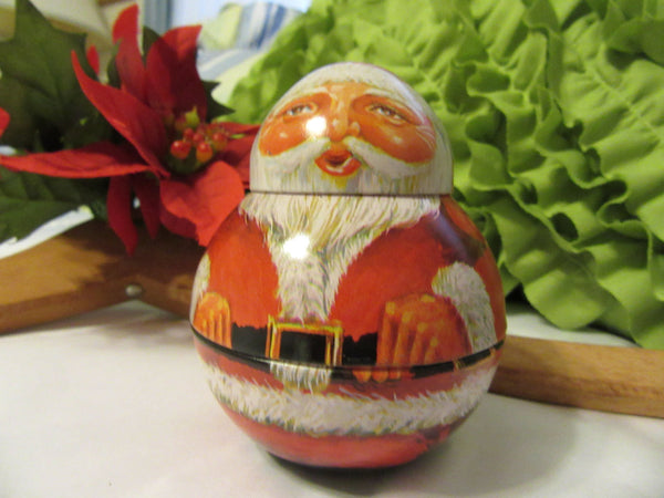 Santa Roly Poly Unique 1982 Vintage Tin Christmas Holiday Decoration - JAMsCraftCloset