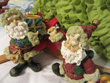 Shelf Sitters Resin Santa Figurines A Pair Vintage Holiday Candle Holders - JAMsCraftCloset