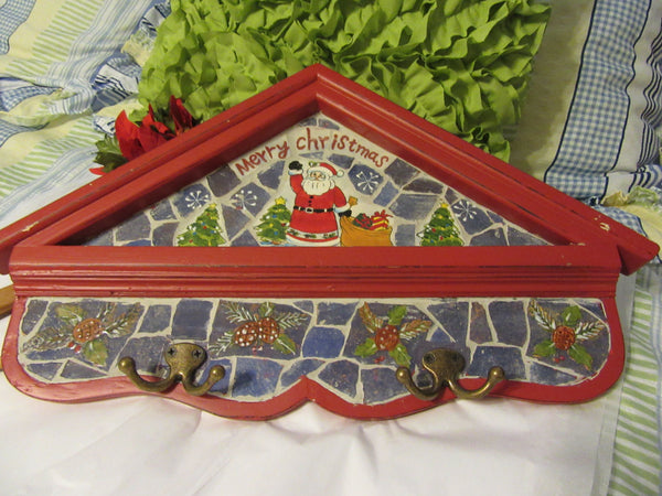 Wall Art Holiday Vintage Wood and Mosaic Hand Painted Merry Christmas With Hooks - JAMsCraftCloset