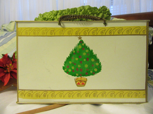 Basket Metal Vintage Holiday Hand Painted Christmas Tree Accent - JAMsCraftCloset