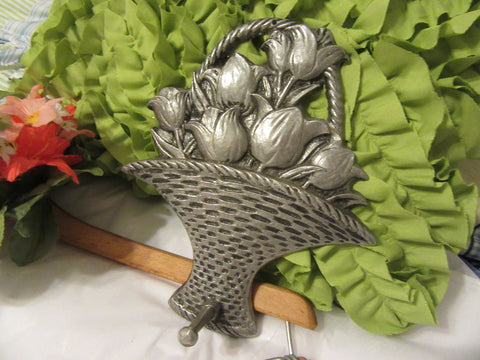 Basket Pewter Tulip With Peg Carson Pewter Number 96069 Vintage - JAMsCraftCloset