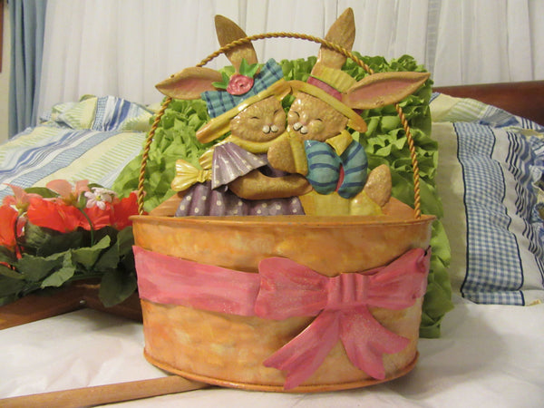 Tin Basket With Bunnies and Bows for Accents Rounded Front and Flat Back Vintage Metal Easter - JAMsCraftCloset