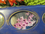 Picture Frame Floral Vintage Plastic Antiqued Blue Gold  Made in China Wall Art - JAMsCraftCloset