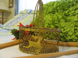 Basket Chicken Wire Reindeer Small Gold Vintage - JAMsCraftCloset