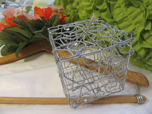 Basket Wire Ornament Silver Square Star with Bling - JAMsCraftCloset