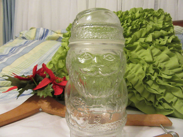 Candy Jar Santa Vintage Holiday Glass Collectible Container Made in Canada - JAMsCraftCloset