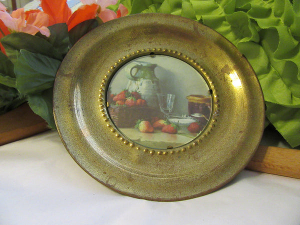 Wall Plate Brass Vintage 1950s Round Plaque Made in England Wall Art - JAMsCraftCloset