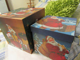 Boxes Holiday Vintage Pair of Santa Square Christmas Boxes Glitter - JAMsCraftCloset