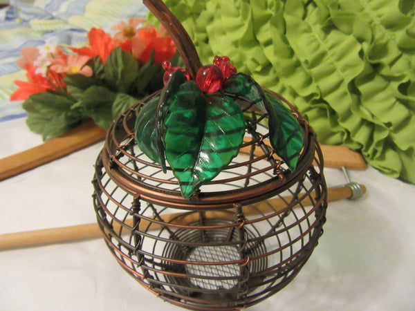 Wire Apple With Lid Vintage Copper Green Plastic Leaves Red Berries - JAMsCraftCloset
