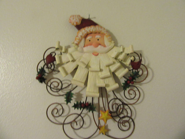Wall Hanging Santa Vintage Wire and Metal Santa Face - JAMsCraftCloset
