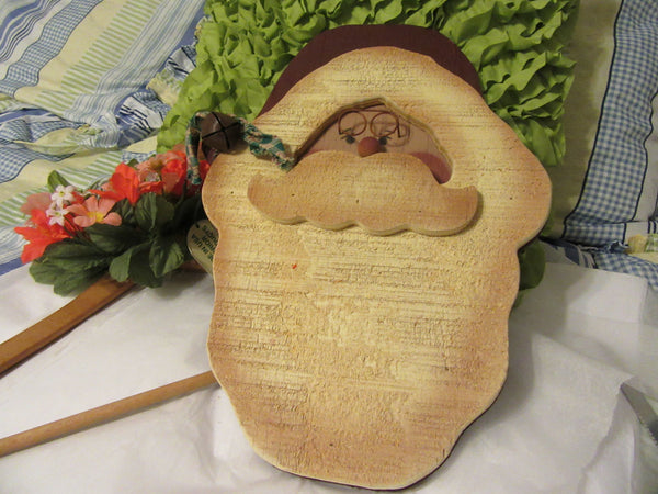 Santa Face Vintage Hand Painted Wooden  Primitive or Country Santa Wall Art - JAMsCraftCloset