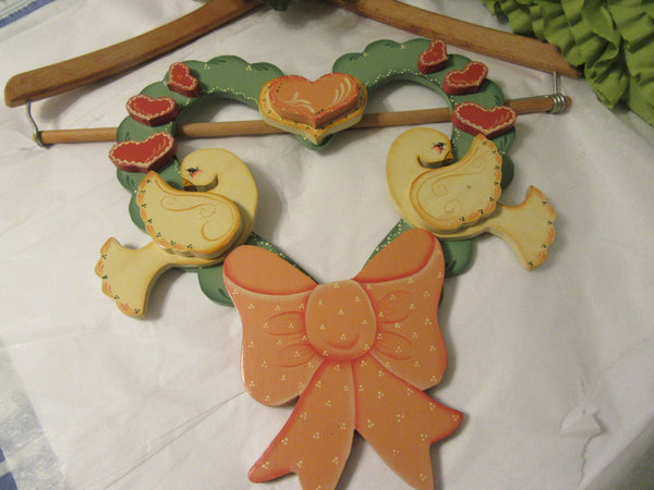 Wreath Wall or Door Vintage Wooden Handmade Hand Painted Handcrafted Hearts Doves - JAMsCraftCloset