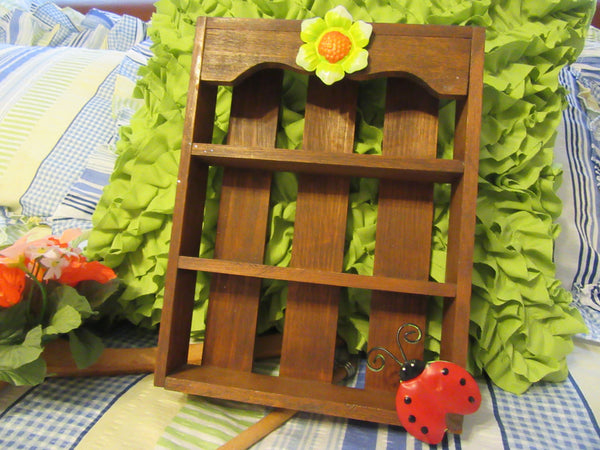 Slat Box Small Wooden With Shelves  Metal Flower and Lady Bug Accents - JAMsCraftCloset