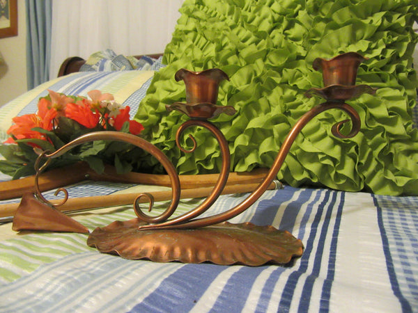 Candlestick Holder Gregorian Copper Hand Hammered with Snuffer 421 - JAMsCraftCloset