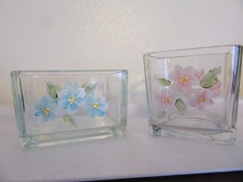 Containers Glass Hand Painted Small Clear Pink One Square and Blue One Rectangle - JAMsCraftCloset