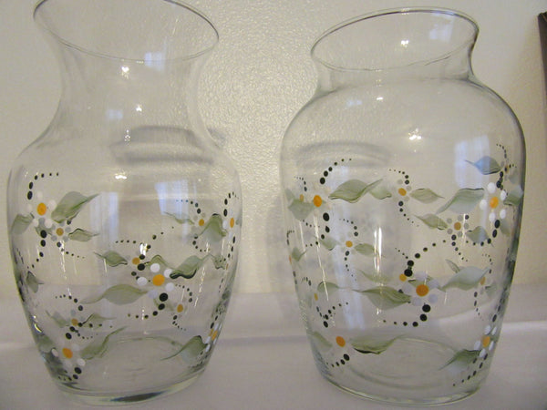 Vase Clear Glass Hand Painted Daisy Flower Two To Choose From - JAMsCraftCloset