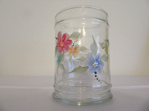 Vase Glass Hand Painted Clear Round Multi Colored Floral Accents - JAMsCraftCloset