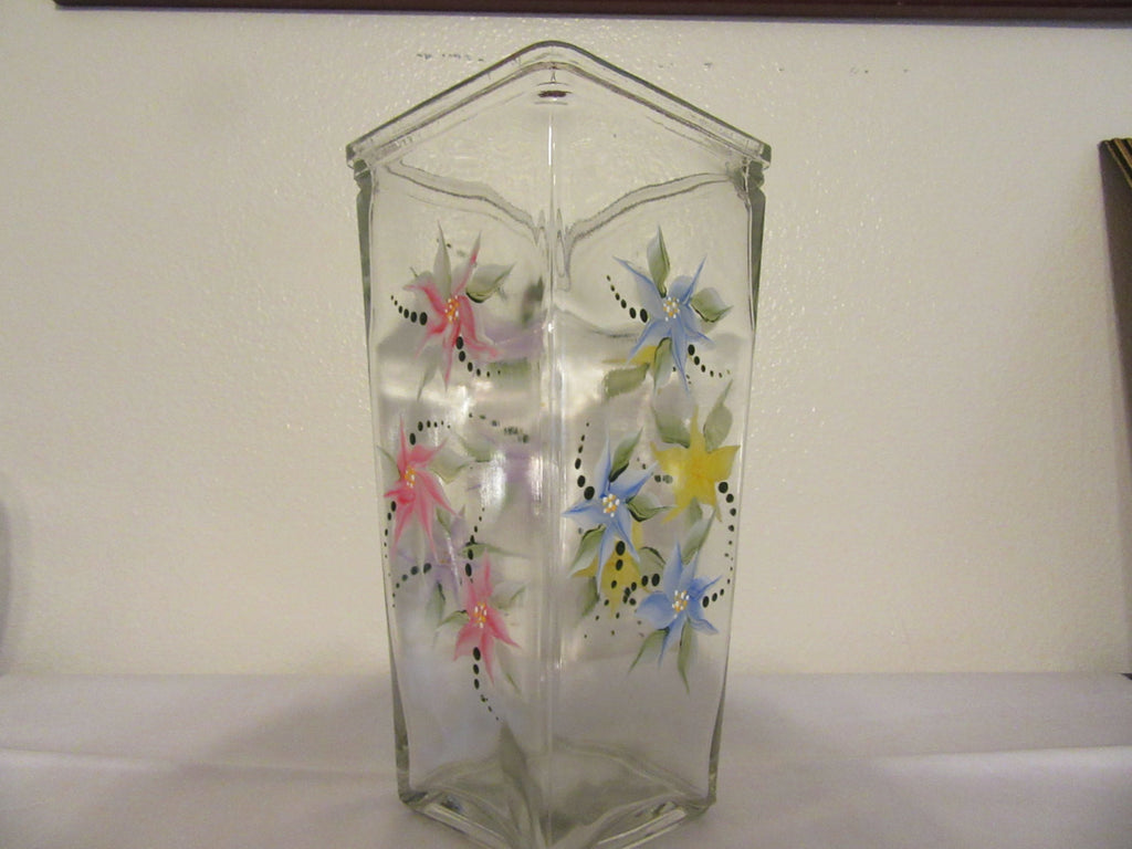 Vase Floral Tall Rectangle Hand Painted Red Blue Yellow Purple Flowers - JAMsCraftCloset