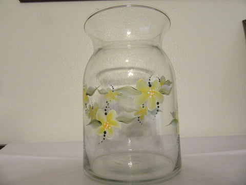 Vase Clear Glass Hand Painted Round Has a Greenish Tint Yellow Floral Wedding - JAMsCraftCloset