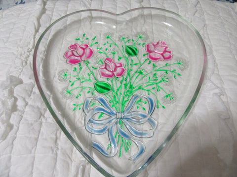 Serving Plate or Platter Heart Shaped  Hand Painted Pink Roses - JAMsCraftCloset