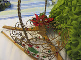 Basket Wire Christmas Blinged Out Gold Tree on Front Sides Reindeer on Sides - JAMsCraftCloset