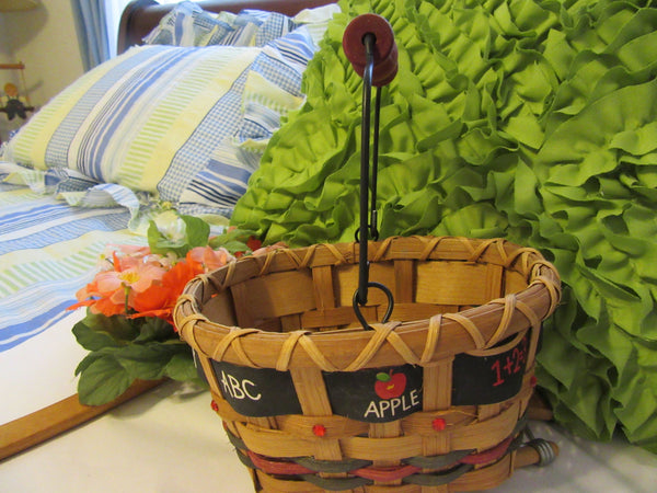 Basket Teacher Oval With Bling and ABC Apple Ribbon Accents - JAMsCraftCloset