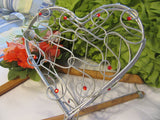 Basket Wire Heart Silver Red Bling Accents Opens to Hold Your Special Items - JAMsCraftCloset