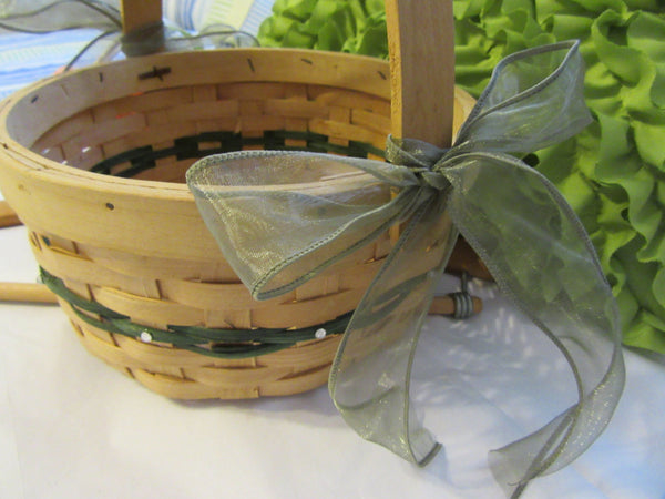 Basket Flower Girl Natural Basket Green Woven Design Wedding Accessory - JAMsCraftCloset