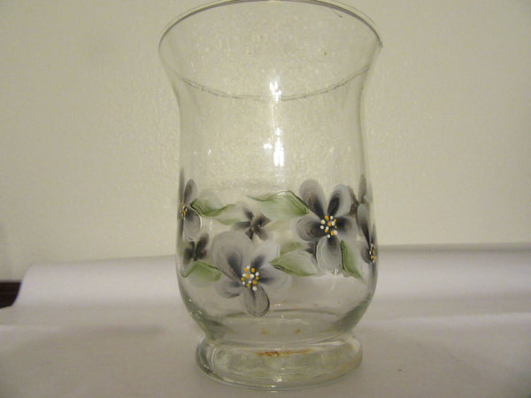 Vase Glass Hand Painted Black Flower Small Clear Floral - JAMsCraftCloset