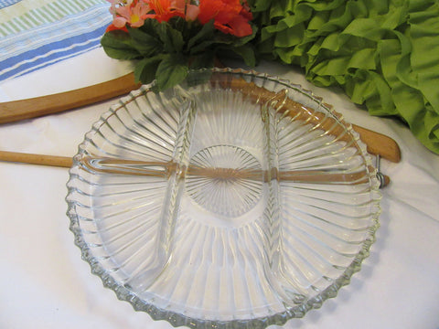 Serving Tray Platter 4 Section Vintage Clear Glass Round Relish Vegetable Cheese Platter Tray - JAMsCraftCloset