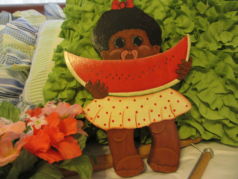 Wall Art Little Black Girl Eating Watermelon Vintage Black Americana Handmade Hand Painted Wood - JAMsCraftCloset