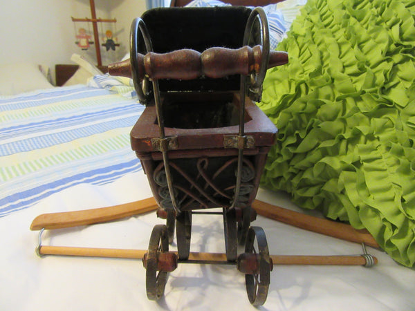 Doll Carriage With Wooden Handle Vintage Small Curved Wicker and Metal - JAMsCraftCloset