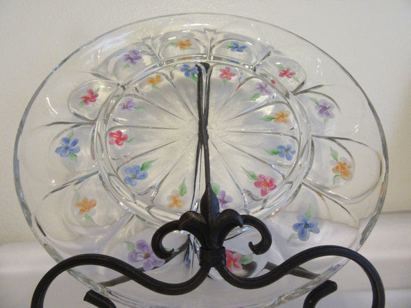 Serving Dish Platter Tray Vintage Hand Painted Floral Clear Glass Red Blue Orange Purple - JAMsCraftCloset