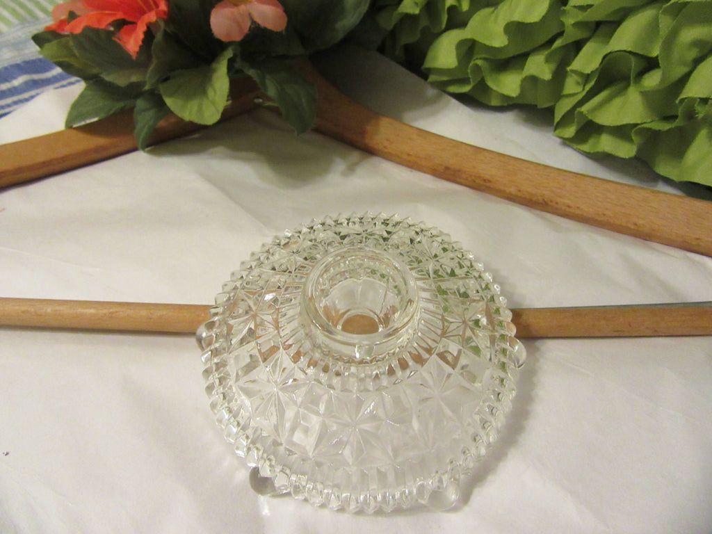 Candlestick Holder Single Vintage Anchor Hocking Clear Pressed Glass Stars and Bars Pattern - JAMsCraftCloset